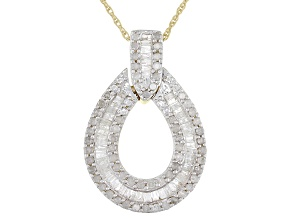 White Diamond 14K Yellow Gold Over Sterling Silver Pendant 1.00ctw
