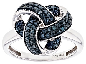 Blue Diamond Accent Rhodium Over Sterling Silver Ring