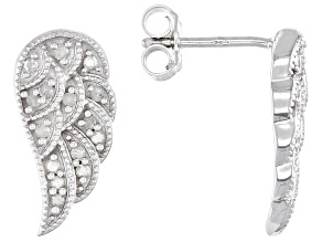White Diamond Rhodium Over Sterling Silver Angel Wing Earrings 0.25ctw