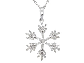 White Diamond Rhodium Over Sterling Silver Pendant With 18
