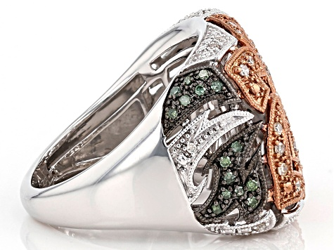 Champagne, Green And White Diamond Rhodium Over Sterling Silver Flower Cocktail Ring 0.39ctw