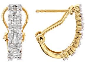 White Diamond 14k Yellow Gold Over Sterling Silver J-Hoop Earrings 0.60ctw