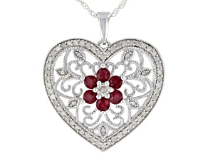 White Diamond And Red Burmese Ruby Rhodium Over Sterling Silver Floral Heart Pendant 1.55ctw