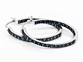 Blue Diamond Rhodium Over Sterling Silver Inside-Outside Hoop Earrings 0.25ctw