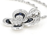 Blue Sapphire And White Diamond Rhodium Over Sterling Silver Butterfly Pendant 0.24ctw