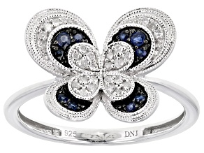 Blue Sapphire And White Diamond Rhodium Over Sterling Silver Butterfly Ring 0.24ctw