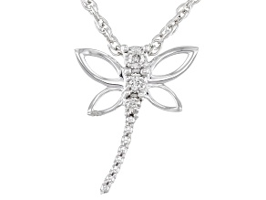 White Diamond Accent Rhodium Over Sterling Silver Dragonfly Pendant With 18