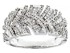 White Diamond Rhodium Over Sterling Silver Band Ring 0.79ctw