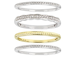 White Diamond Rhodium And 14k Yellow Gold Over Sterling Silver Set Of 4 Band Rings 0.25ctw