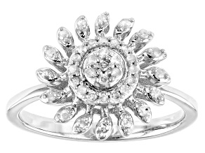 White Diamond Rhodium Over Sterling Silver Cluster Ring 0.28ctw