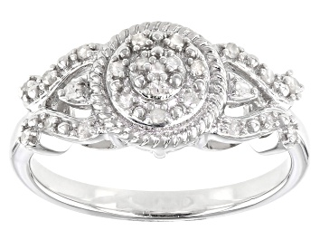 Picture of White Diamond Rhodium Over Sterling Silver Cluster Ring 0.15ctw
