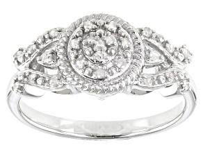White Diamond Rhodium Over Sterling Silver Cluster Ring 0.15ctw
