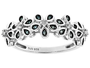 Blue And White Diamond Rhodium Over Sterling Silver Flower Band Ring 0.15ctw