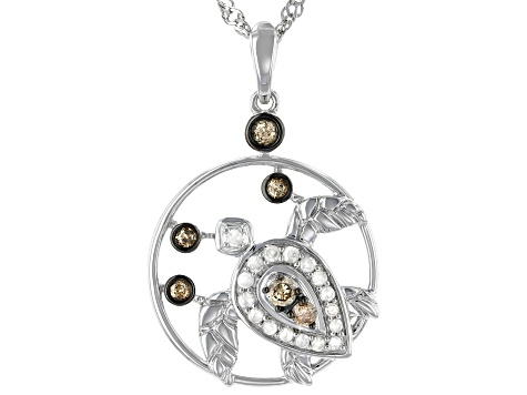 Champagne And White Diamond Rhodium Over Sterling Silver Turtle Pendant With Chain 0.54ctw
