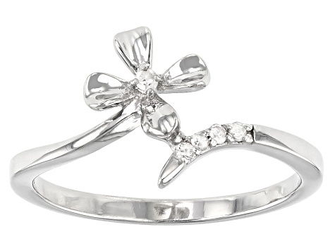 White Diamond Accent Rhodium Over Sterling Silver Flower Ring