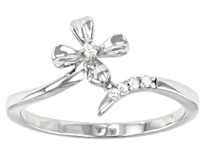 White Diamond Accent Rhodium Over Sterling Silver Flower Bypass Ring