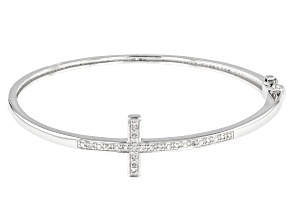 White Diamond Rhodium Over Sterling Silver Cross Bangle Bracelet