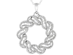 "White Diamond Rhodium Over Sterling Silver Circle Pendant With 18"" Rope Chain 0.40ctw"
