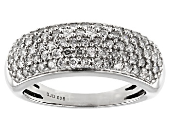 Picture of White Diamond Rhodium Over Sterling Silver Band Ring 0.90ctw