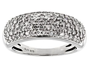 White Diamond Rhodium Over Sterling Silver Band Ring 0.90ctw