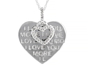 "White Diamond Rhodium Over Sterling Silver ""I Love You More"" Heart Pendant With Chain 0.10ctw"