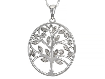 """Picture of White Diamond Rhodium Over Sterling Silver Tree Pendant With 18"""" Rope Chain 0.10ctw"""