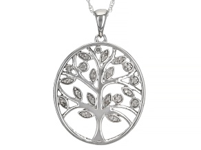 "White Diamond Rhodium Over Sterling Silver Tree Pendant With 18"" Rope Chain 0.10ctw"