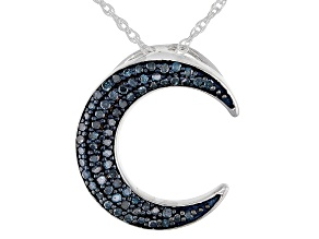 Blue Diamond Rhodium Over Sterling Silver Moon Pendant With 18