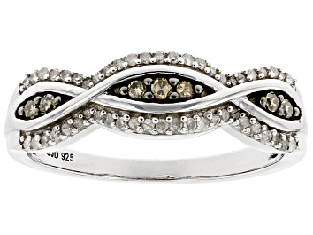 Picture of White And Champagne Diamond Rhodium Over Sterling Silver Band Ring 0.25ctw