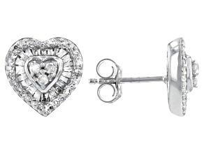 White Diamond Rhodium Over Sterling Silver Heart Stud Earrings 0.65ctw