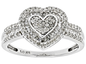 White Diamond Rhodium Over Sterling Silver Heart Cluster Ring 0.45ctw