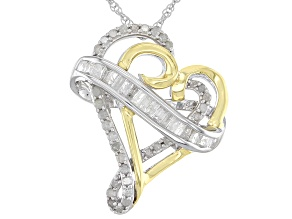 White Diamond Rhodium And 14K Yellow Gold Over Sterling Silver Heart Pendant With Chain 0.50ctw