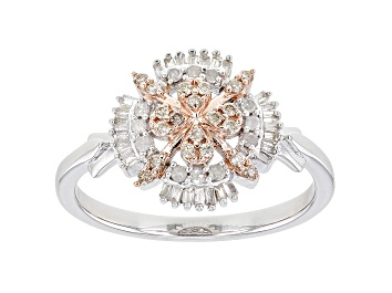 Picture of Champagne And White Diamond Rhodium & 14K Rose Gold Over Sterling Silver Cluster Ring 0.33ctw