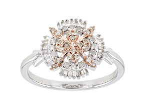 Champagne And White Diamond Rhodium & 14K Rose Gold Over Sterling Silver Cluster Ring 0.33ctw