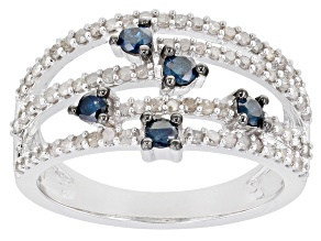 Blue And White Diamond Rhodium Over Sterling Silver Open Design Ring 0.75ctw