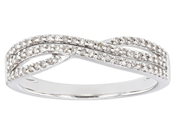 Picture of White Diamond Rhodium Over Sterling Silver Crossover Band Ring 0.25ctw