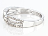 White Diamond Rhodium Over Sterling Silver Crossover Band Ring 0.25ctw
