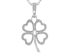 White Diamond Accent Rhodium Over Sterling Silver Four Leaf Clover Pendant With 18