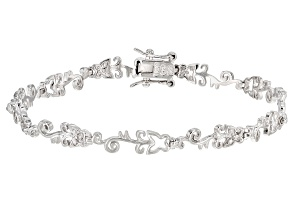 White Diamond Accent Rhodium Over Sterling Silver Butterfly Tennis Bracelet