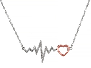 White Diamond Rhodium & 14k Rose Gold Over Sterling Silver Heartbeat Necklace 0.10ctw