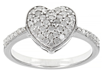 Picture of White Diamond Rhodium Over Sterling Silver Heart Cluster Ring 0.50ctw
