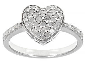 White Diamond Rhodium Over Sterling Silver Heart Cluster Ring 0.50ctw