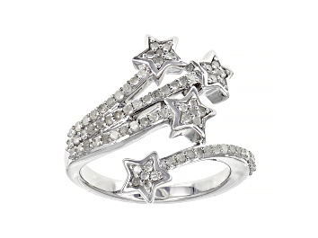 Picture of White Diamond Rhodium Over Sterling Silver Star Bypass Ring 0.50ctw