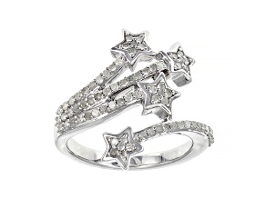 White Diamond Rhodium Over Sterling Silver Star Bypass Ring 0.50ctw