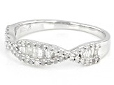 White Diamond Rhodium Over Sterling Silver Crossover Band Ring 0.40ctw