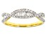 White Diamond 14K Yellow Gold Over Sterling Silver Crossover Band Ring 0.40ctw