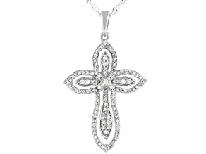 White Diamond Rhodium Over Sterling Silver Cross Pendant With Chain 0.40ctw
