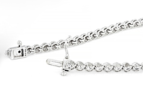 White Diamond Rhodium Over Sterling Silver Tennis Bracelet 0.90ctw