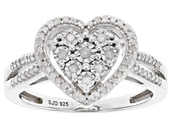 Picture of White Diamond Rhodium Over Sterling Silver Heart Cluster Ring 0.25ctw