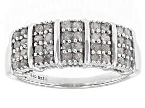 White Diamond Rhodium Over Sterling Silver Wide Band Ring 0.70ctw